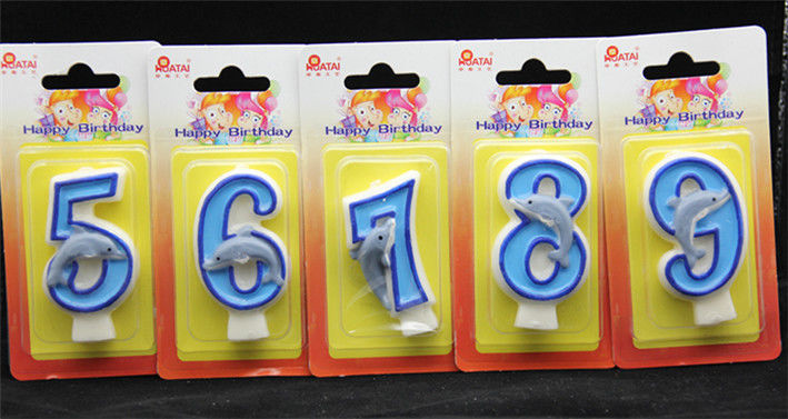 Handmade Number Candle with Blue Edge and Blue Painted with little blue Dolphin